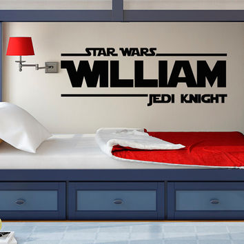 Star Wars Wall Decal- Star Wars Boys Name Wall Decals- Jedi Knight Wall Decal Star Wars- Wall Decal Boy Kids Bedroom Star Wars Decor 074