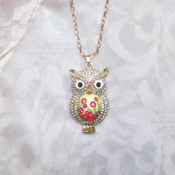 Little Owl Pendant by Lena Handmade Jewelry Spring Pendant Animal Rose Gold color