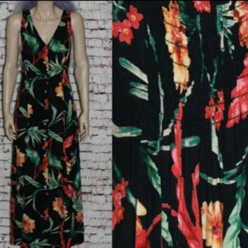90s Maxi Dress Tropical Floral Black Grunge Hipster Boho Festival Sundress Sleeveless Tank Flowy 14 16 XL XXL Plus Size Rayon Express