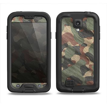 The Traditional Camouflage Fabric Pattern Samsung Galaxy S4 LifeProof Fre Case Skin Set
