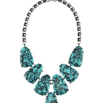 KENDRA SCOTT - Harlow Statement Necklace In Variegated Teal Magnesite