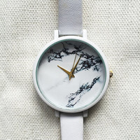 Marble Watch, Women Watches, Wrist Watch, Minimalist Watch, Leather Watch, Custom Watch Bands,Freeforme, Marble Jewelry, Gift for Her,Simple