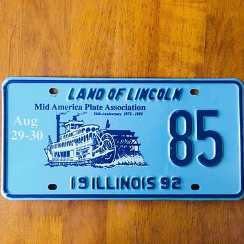 1992 Illinois Land of Lincoln Mid America Plate Association License Plate 85