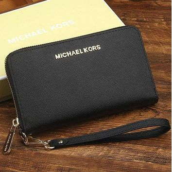 LMFONV MK Micheal Kors Women Leather Zipper Wallet Purse Wrist Bag Black