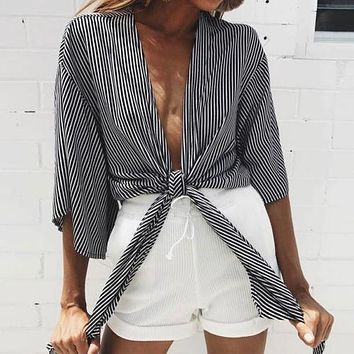 Sexy Fashion Women V neck Knotted Half Sleeve Casual Loose Blouse Off Shoulder Crop Top Blouses