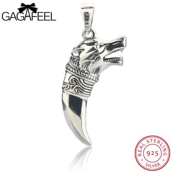 GAGAFEEL Spike Pendant Necklace Fine Jewelry 925 Thai Sterling Silver Bijoux Men Cool Animals Wolf Pendants No Chain For Party