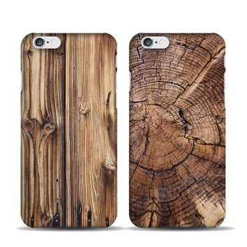 Nature Bamboo Wood Pattern Tree Cover Case Fits For iPhone 7 8 Plus 5 SE 6 Plus