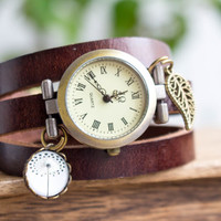 Wrap Watch, wrist watch real leather, bead watch, bracelet watch, real leather, wish watch, watch, Live Laugh Love