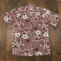 Hilo Hattie Red Hibiscus Hawaiian Tiki Luau Aloha Shirt Made in Hawaii Men Small