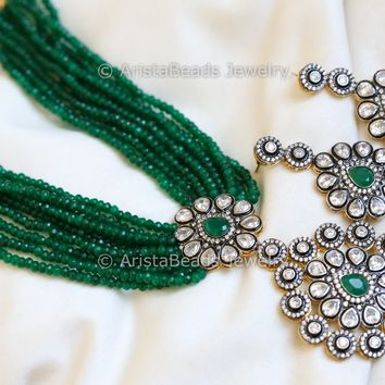 Contemporary Emerald Victorian Layered Necklace