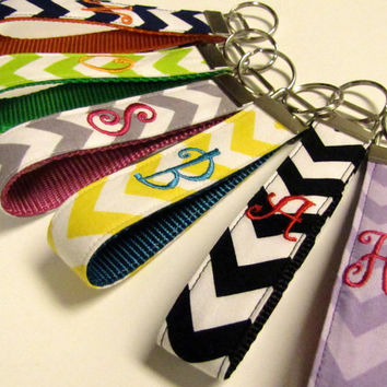 Chevron Monogram Wristlet Key Fob Key Ring  ONE Letter, 15 Styles & Colors 5 Fonts