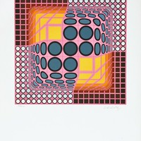Pink Composition, Limited Edition Silk-screen, Victor Vasarely