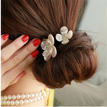 New Korean Women Girl Hair Accessories Rhinestone Tiara Hair Rope Imitation Pearl Shell Flower Elastic Headband Rubber Hair Band