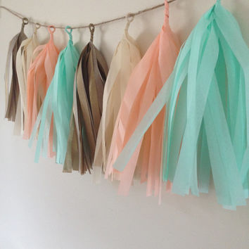 tissue tassle garland/fringe tassle garland/party decor/wedding decoration/birthday party decor/sweet table buffet decor/tissue paper /party
