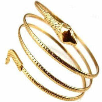 JU 10 Fairy Store Charm Coiled Spiral Upper Arm Cuff Bangle Bracelet