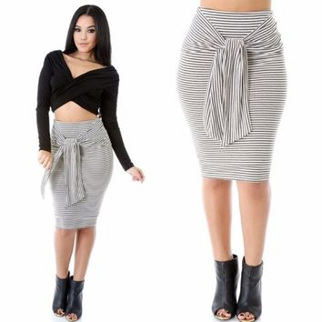 High Waist Black and White Stripes Front Tied Midi Skirt Sizes S-M-L
