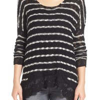 Love By Design Lace Hem Stripe Pullover | Nordstrom