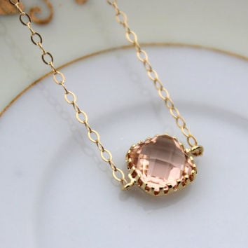 Dainty Blush Champagne Bracelet Square Gold Plated Peach Bracelet - Bridesmaid Bracelet - Bridal Bracelet Blush Champagne Wedding Jewelry