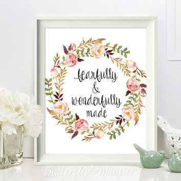 Nursery scripture print, Christian wall art scripture print, Fearfully and wonderfully made, Nursery Bible verse wall art, Psalm 139:14
