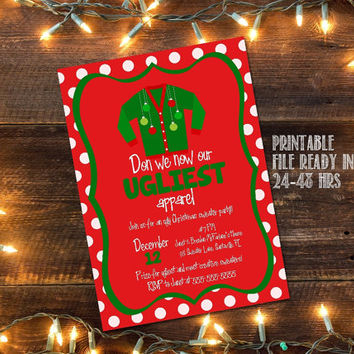 Ugly Christmas Sweater party invitation / Christmas sweater party invitation / Tacky Christmas sweater invitation / DIY Christmas invitation
