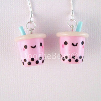 Pink Strawberry Bubble Tea Boba Drink Kawaii Polymer by DoodieBear