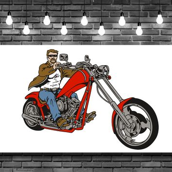 Red Chopper Motorcycle Rider Wall Art Decal Sticker