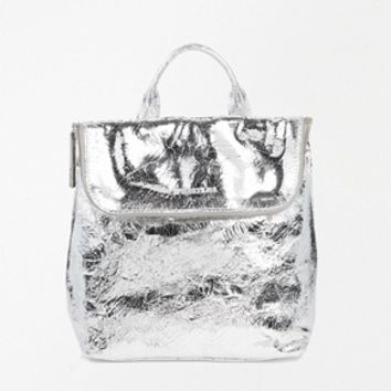 Whistles Mini Verity Leather Backpack in Silver at asos.com