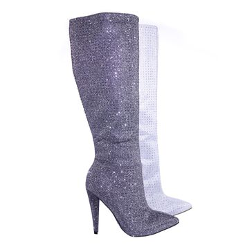 Magnolia13 Rhinestone Crystal w Glitter High Heel Strass Dress Boots