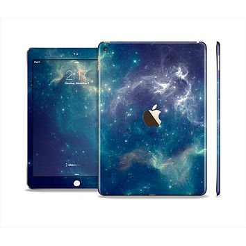 The Subtle Blue and Green Nebula Skin Set for the Apple iPad Pro