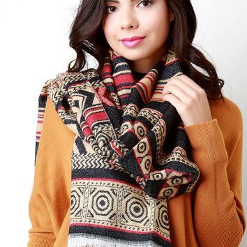 Southwest Traveler Fringe Trim Scarf