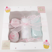 Baby Girl Gift Washcloth Cupcakes Candies Box 9 months bicycle bodysuit bike
