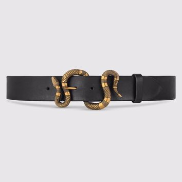GUCCI Authentic Leather Python Belt With Snake Buckle XLStyle458935 CVE0T 100