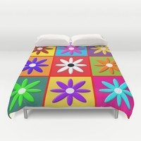 Pop Daisy Duvet Cover by Miss L In Art
