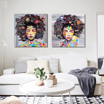 Fashion African Women Portrait Canvas Oil Painting On Prints Home Living Room Decoration