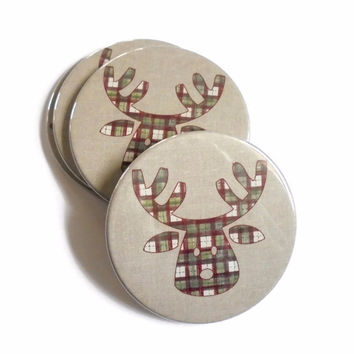 Christmas Coasters - Reindeer in plaid, Set of 4 cork backed coasters