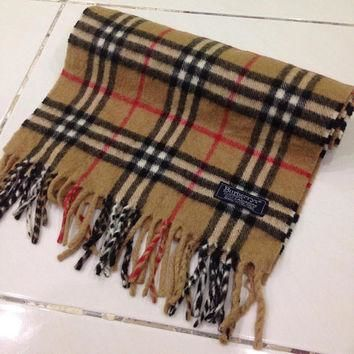 vintage burberrys scarf / scarves 100% Cashmere plaid pattern made in england unisex a
