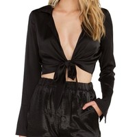 Satin Open Tie Crop Top Black