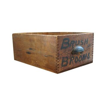 Pre-owned  Vintage Rustic Wood Box with Dovetailed Edges