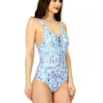 Sexy chest lace up blue floral print one piece bikini show thin vest type