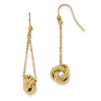 14K Yellow Gold Gold Polished Love Knot Dangle Earrings