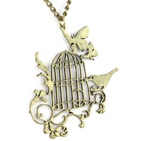 Royal Filigree Bird Cage Pendant - Long Chain Link - Brass Necklace