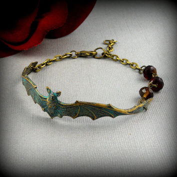 Vintage Bronze Bat, Gothic, Vampire, Halloween, Garnet Red, Patina Bracelet- Blood Sucking Bat