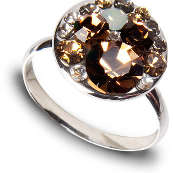 Liza Earthtone - Crystal Cluster made from Swarovski Elements Ring