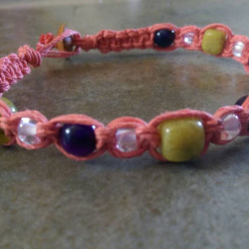 Coral Hemp & Gemstone Anklet, Summer Jewelry, Beautiful Handmade, Beach Wear, Free Shipping in USA