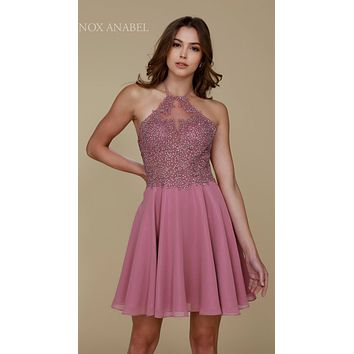 Mauve Homecoming Dress Short A Line Halter Top Lace
