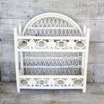 Shelving Unit Wicker Shelf Cottage Chic Shelving Wicker Wall Mount Shelf Standing Shelf Double Shelf White Wicker Shelf Unit Mid Century