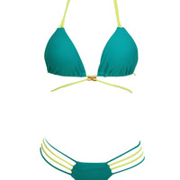 Strappy Cutout Push-up Triangle Bikini