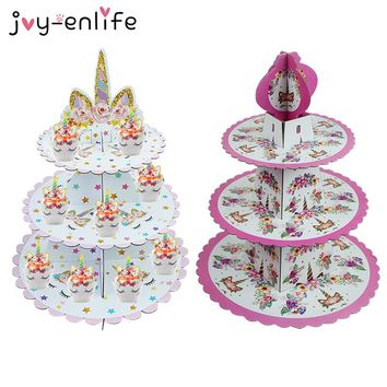 JOY-ENLIFE 1set Cartoon Unicorn Party 3-tier Cake Stand Baby Shower Kids Birthday Party Cupcakes Holder Decoration Supplies