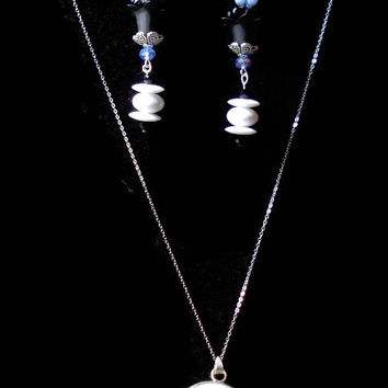 Hand Painted Japanese Sparrow Porcelain Necklace & Earrings Sterling Silver Jewelry Set