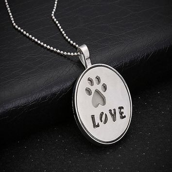 Hollow Love Letter Luminous Pendant Necklace Personality Dog Paw